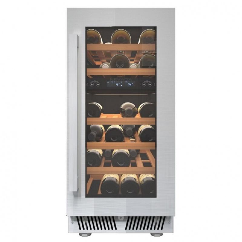 Vitrina vinuri incorporabila Nevada NW30D-SS, capacitate 78 litri, 2 zone temperatura +2-20 °C, argintiu