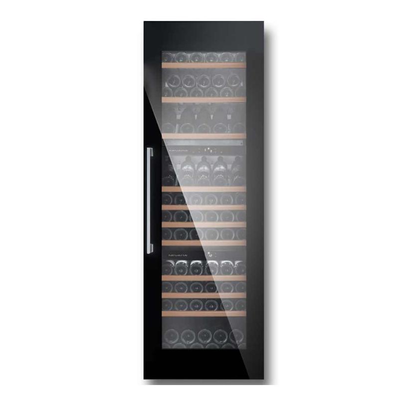 Vitrina vinuri incorporabila Nevada NW93T-FG capacitate 246 litri, 3 zone temperatura +4+10/+4+20 °C, negru