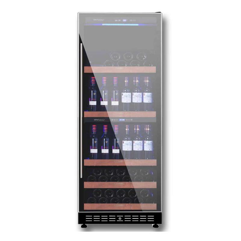 Vitrina vinuri Vinum Design VD200D-FGS capacitate 424 litri, 2 zone temperatura +2+12/+12+22°C, negru