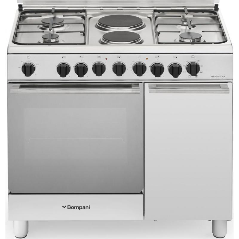 Aragaz Bompani Diva BO943EB/L 90x60 cm plita mixta gaz+electric 6 arzatoare aprindere electronica grill inox