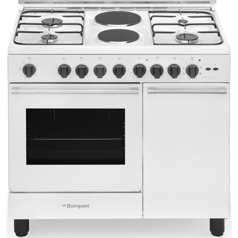 Aragaz Bompani Diva BO940EB/L 90x60 cm plita mixta gaz+electric 6 arzatoare aprindere electronica grill alb