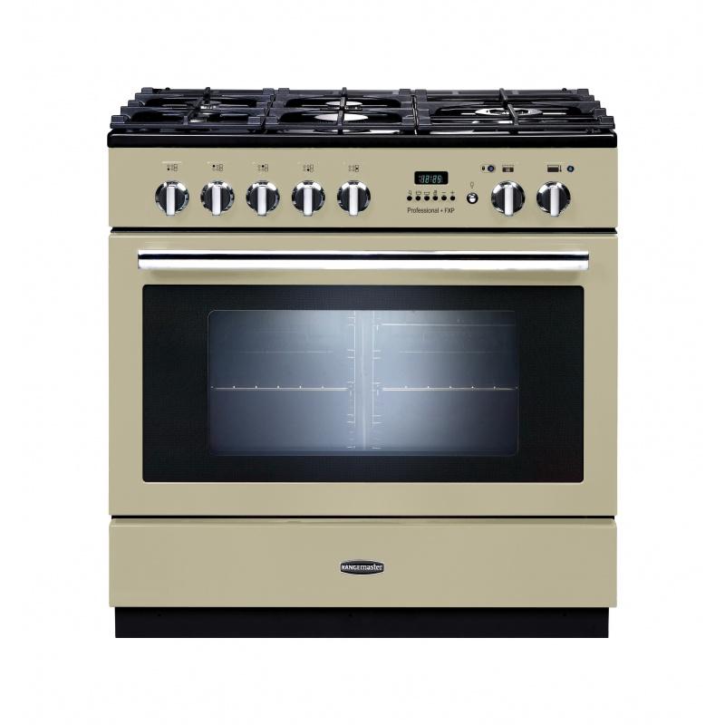 Aragaz pe gaz Rangemaster Professional Plus 90 FXP cu 5 arzatoare si arzator wok cu functie de piroliza