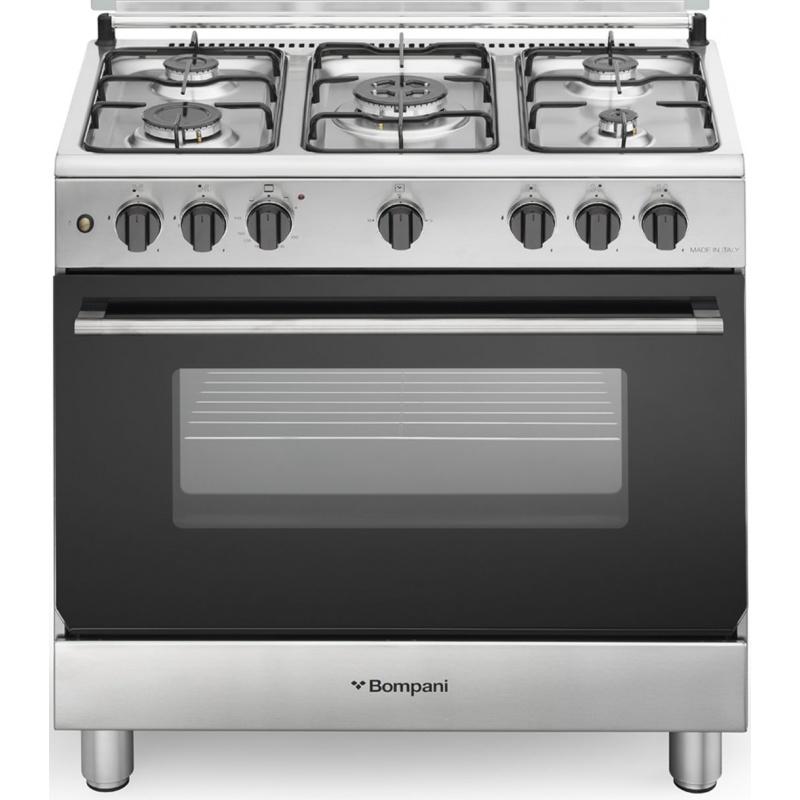 Aragaz Bompani Diva BO853EL/N 80x50 cm plita gaz 5 arzatoare aprindere electronica cuptor gaz grill inox