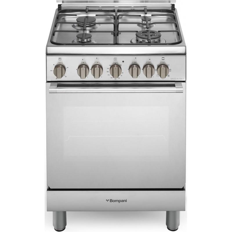 Aragaz Bompani Diva BO643MJ/N 60x60 cm plita gaz 4 arzatoare aprindere electronica grill inox