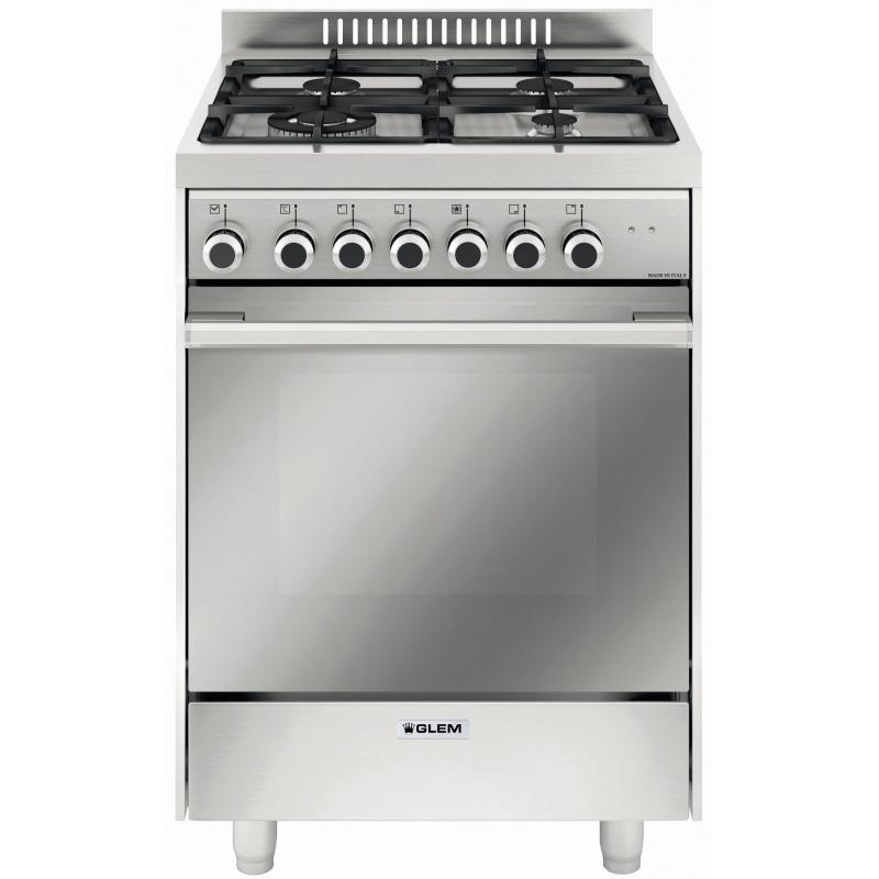 Aragaz Glem Gas Matrix M664MI, 60x60cm, 4 arzatoare, grill electric, timer, 64 litri, aprindere electronica, inox