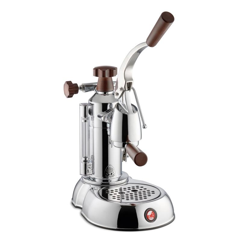 Espressoare de cafea La Pavoni Stradivari Europiccola STH cu pârghie 120V argintiu cu manere de lemn