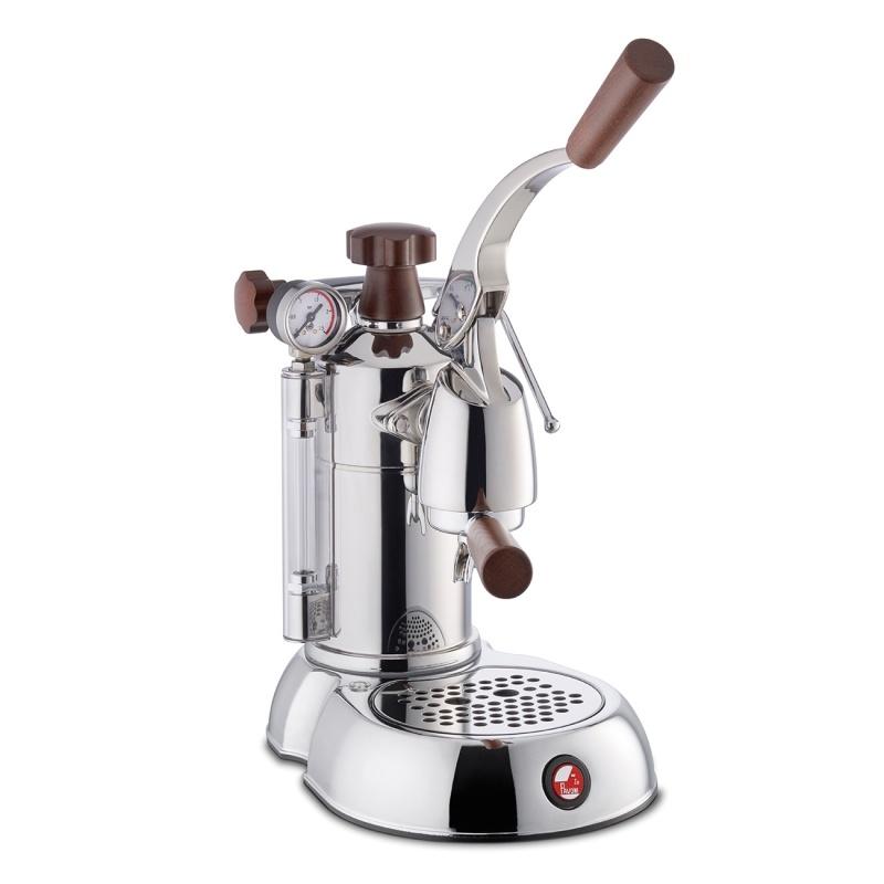 Espressoare de cafea La Pavoni Stradivari Europiccola SPH cu pârghie 120V argintiu cu manere de lemn