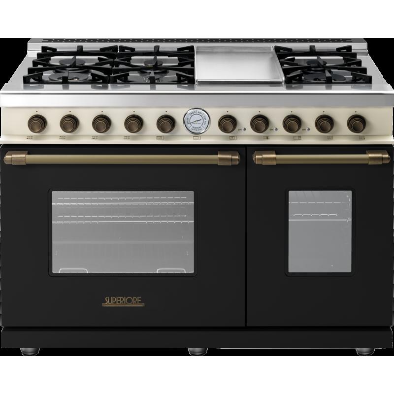 Aragaz mixt Superiore RD482GCNCB DECO 48 Classic cu 6 arzatoare si cuptoare multiple, negru si finisaje bronz