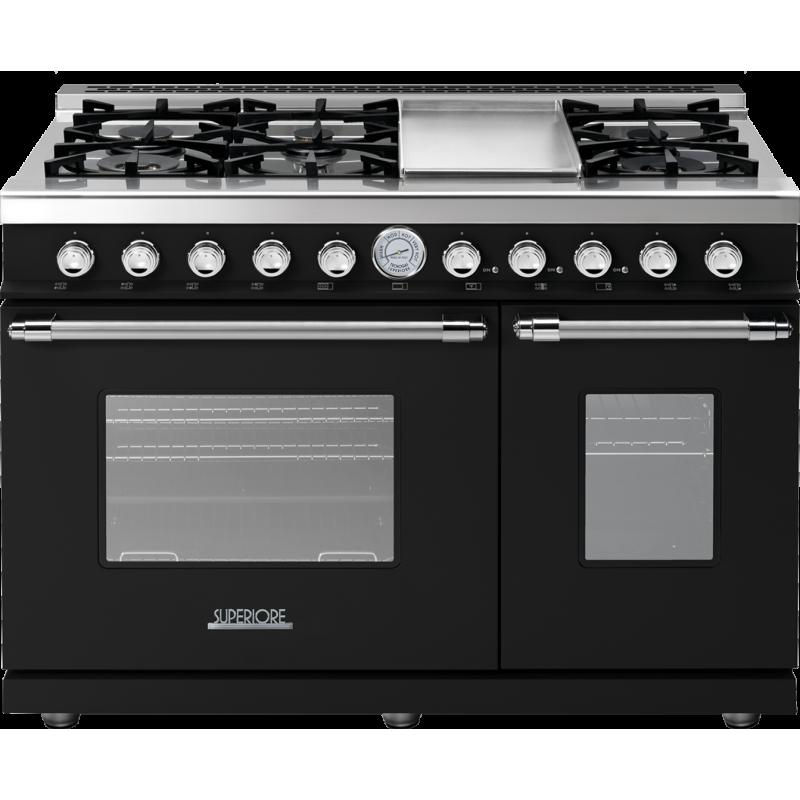 Aragaz mixt Superiore RD482GCNC DECO 48 Classic cu 6 arzatoare si cuptoare multiple, negru si finisaje crom