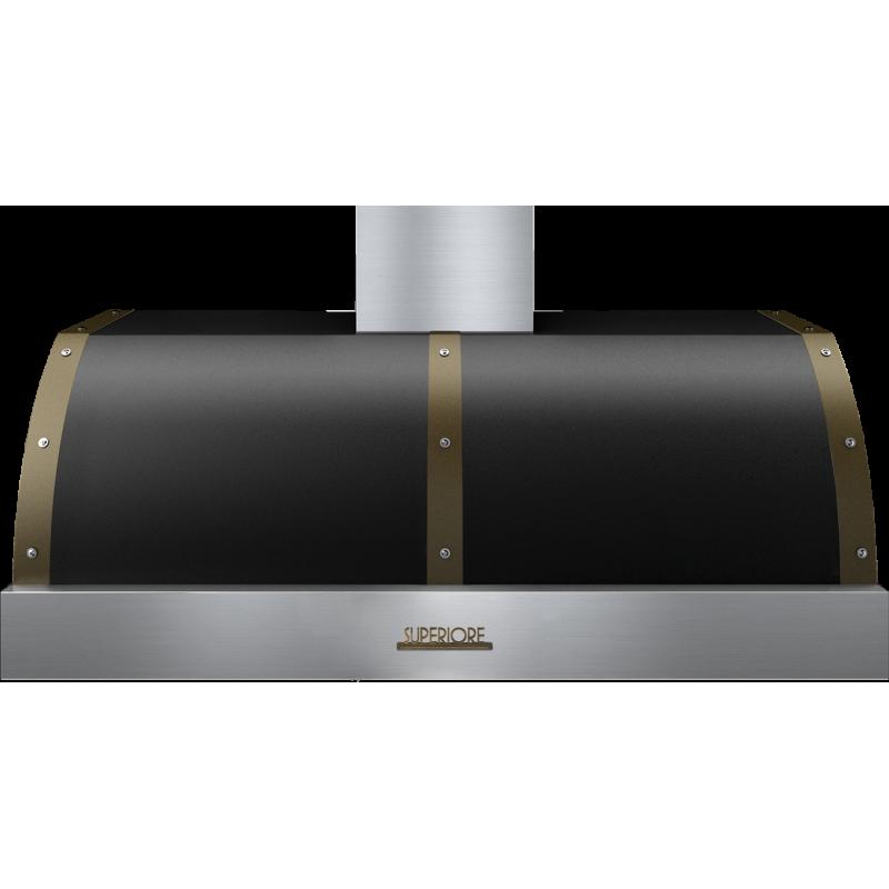 Hota perete Superiore HD48PBTNB DECO 48 ,1 motor, 900 m3/h, control electronic negru mat cu finisaje bronz