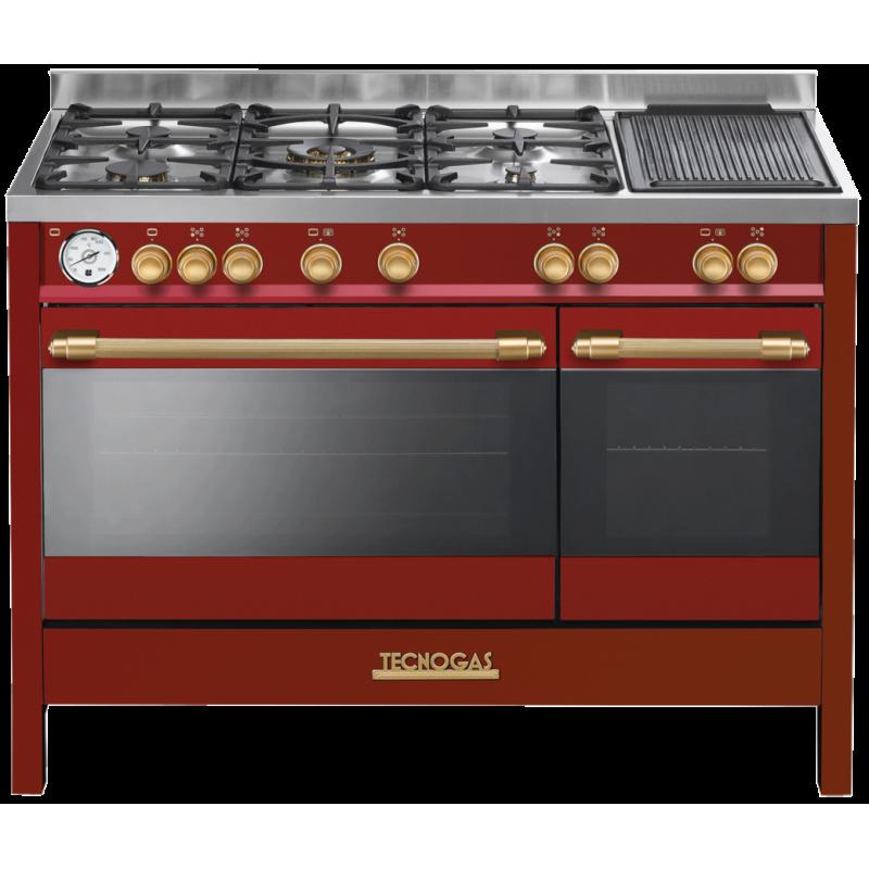 Aragaz electric Tecnogas DECO D1RO12EE5VC, 5 arzatoare, wok, fonta , multiple cuptoare, rosu mat cu finisaje gold