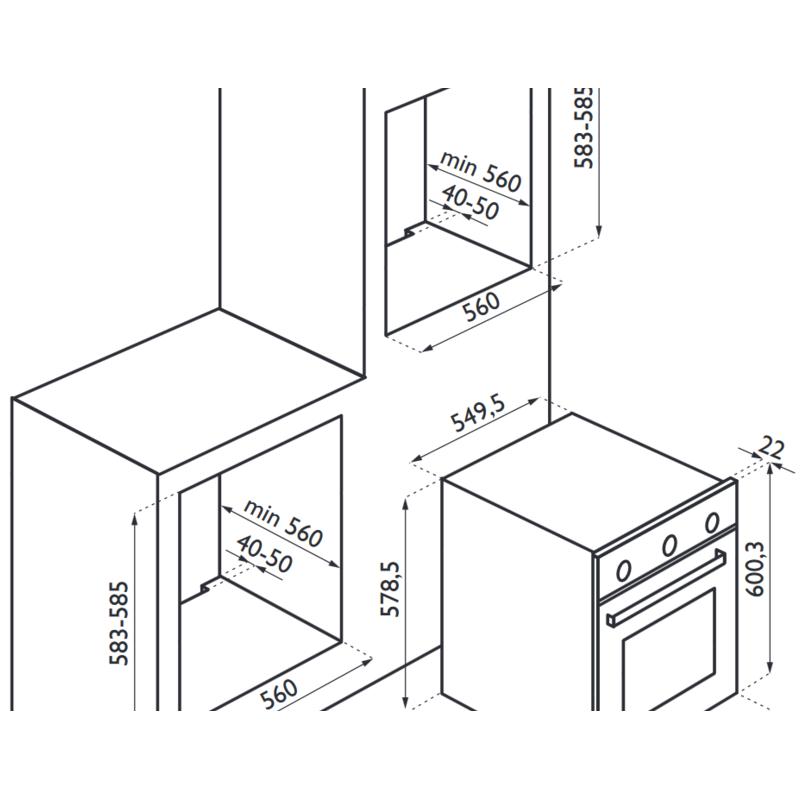 Cuptor incorporabil mixt Tecnogas PRO FP2K66E9X, cuptor multifunctional, inox