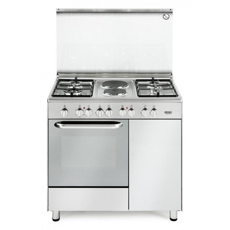 Aragaz mixt De Longhi Design DEMX96B42 ,4 arzatoare cuptor electric 70l, inox