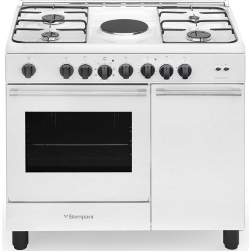 Aragaz Bompani Diva BO940EA / L 90x60 cm plita gaz 4 arzatoare 1plita electrica aprindere electronica cuptor electric alb