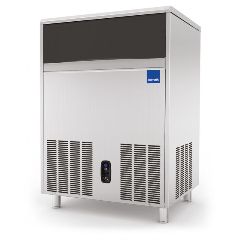 Aparat de facut gheata Icematic CS 70 W, cuburi patrate 37 mm, condensare cu apa, capacitate stocare 70kg, inox