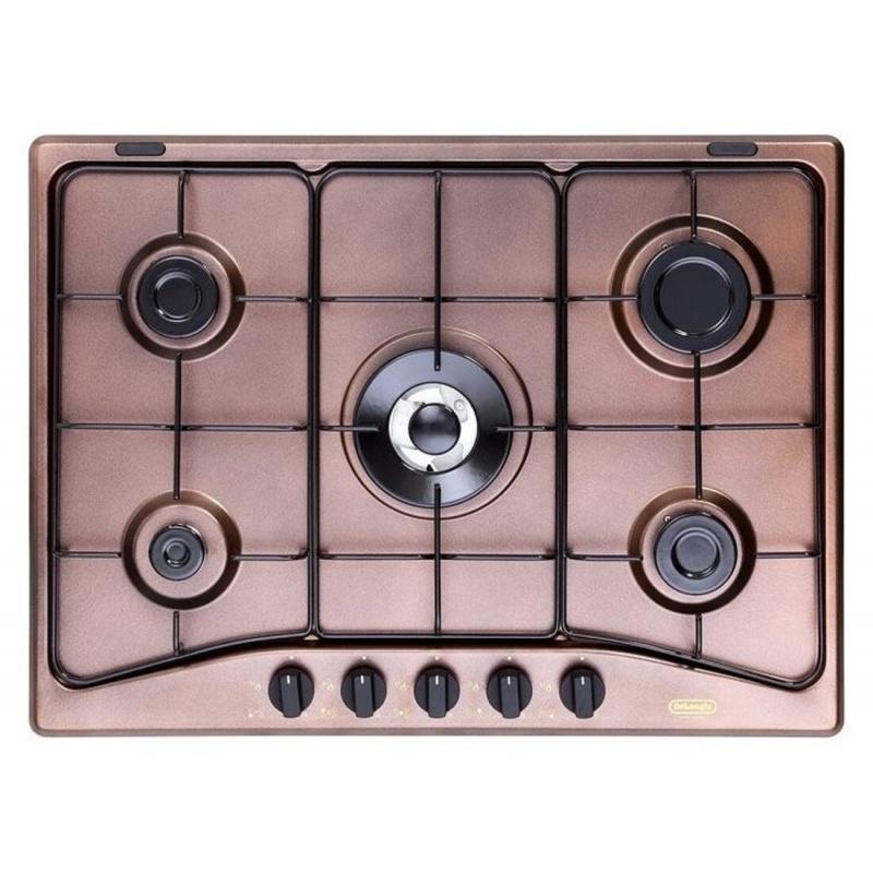 Plita pe gaz De Longhi Family FFI36ER , 70 cm, 5 arzatoare email, arzator wok, cupru