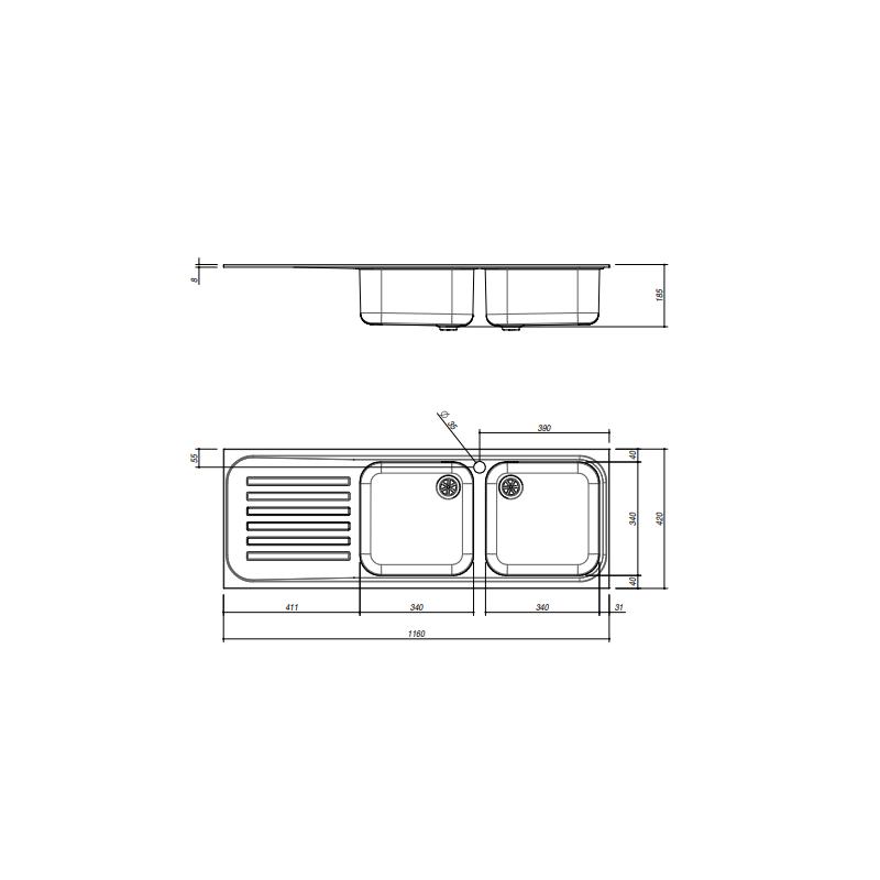 CHIUVETA BUCATARIE JOLLYNOX SERIE 090 1I12050/2.90SK, CU 2 CUVE SI PICURATOR / STANGA, INOX