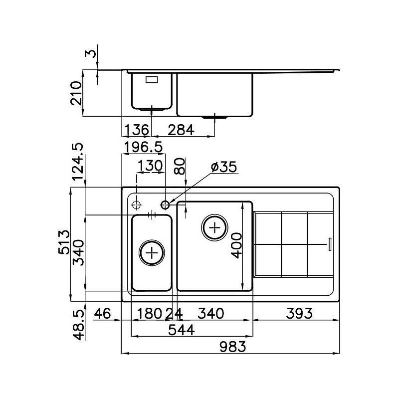 CHIUVETA BUCATARIE FOSTER KE 2297 052, CU 1 CUVA + 1/2 SI PICURATOR / DREAPTA, INOX PERIAT