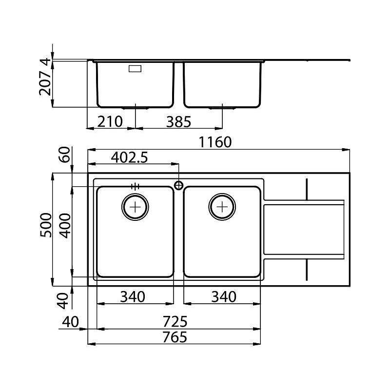 CHIUVETA BUCATARIE FOSTER S4000 4312 051, CU 2 CUVE SI PICURATOR / STANG, INOX PERIAT