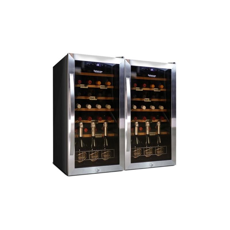 Vitrina de vinuri Datron usa dubla 66 sticle cu compresor 2 zone temperatura C° negru argintiu