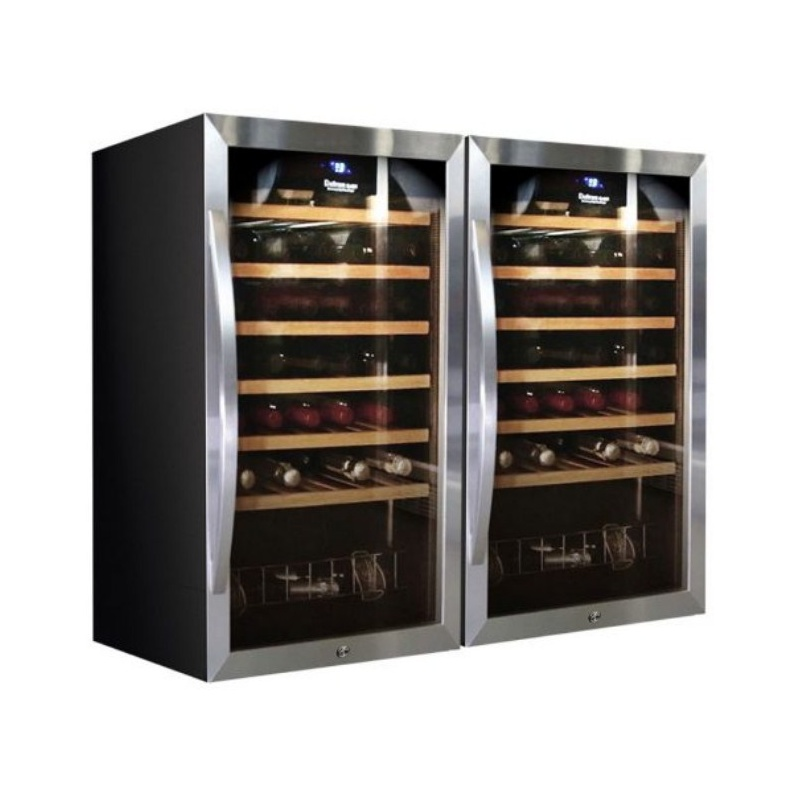 Vitrina de vinuri Datron usa dubla 70 sticle 2 zone temperatura C° negru argintiu