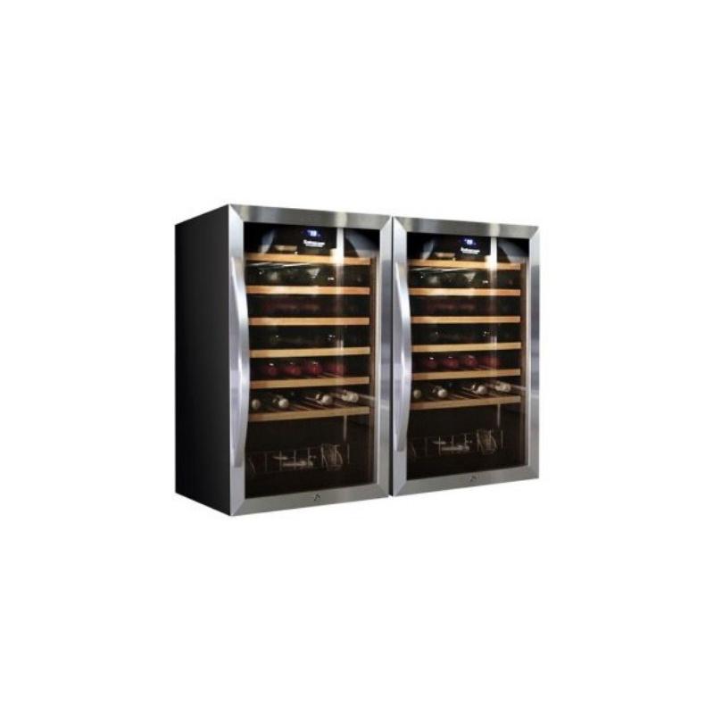 Vitrina de vinuri Datron usa dubla 96 sticle cu compresor 2 zone temperatura C° negru argintiu