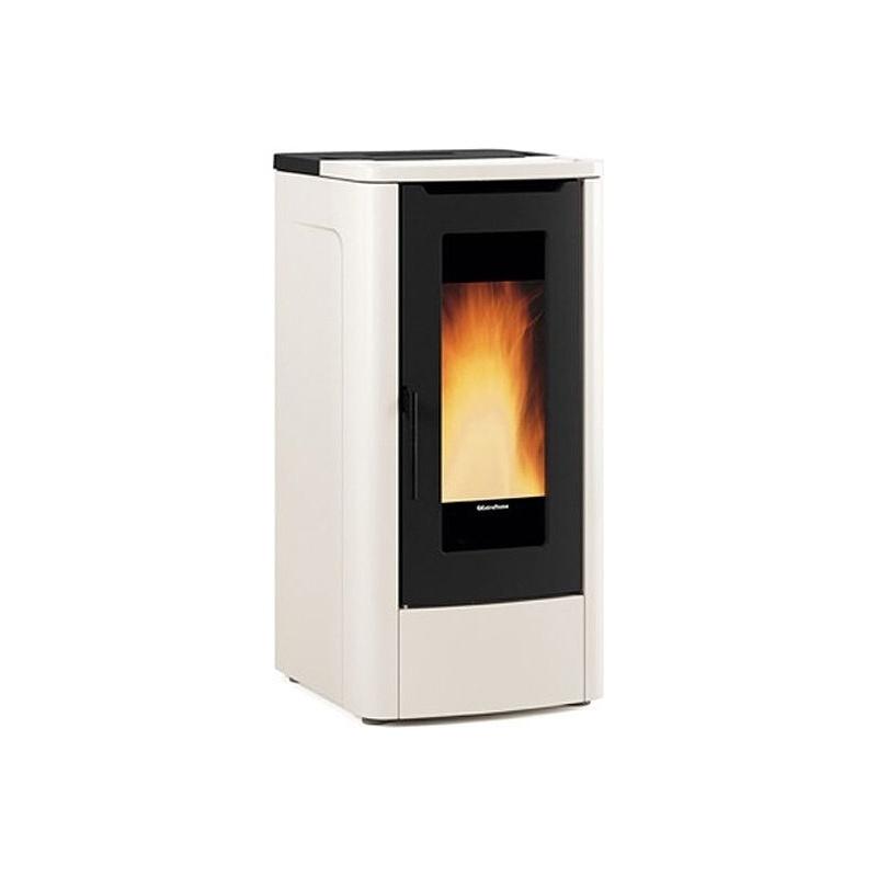 Sobă Extraflame Nordica TEOREMA - AVORIO cu peleți ventilate 10,0 kw - 287 m³ încălzite - fildeș - gresie din oțel