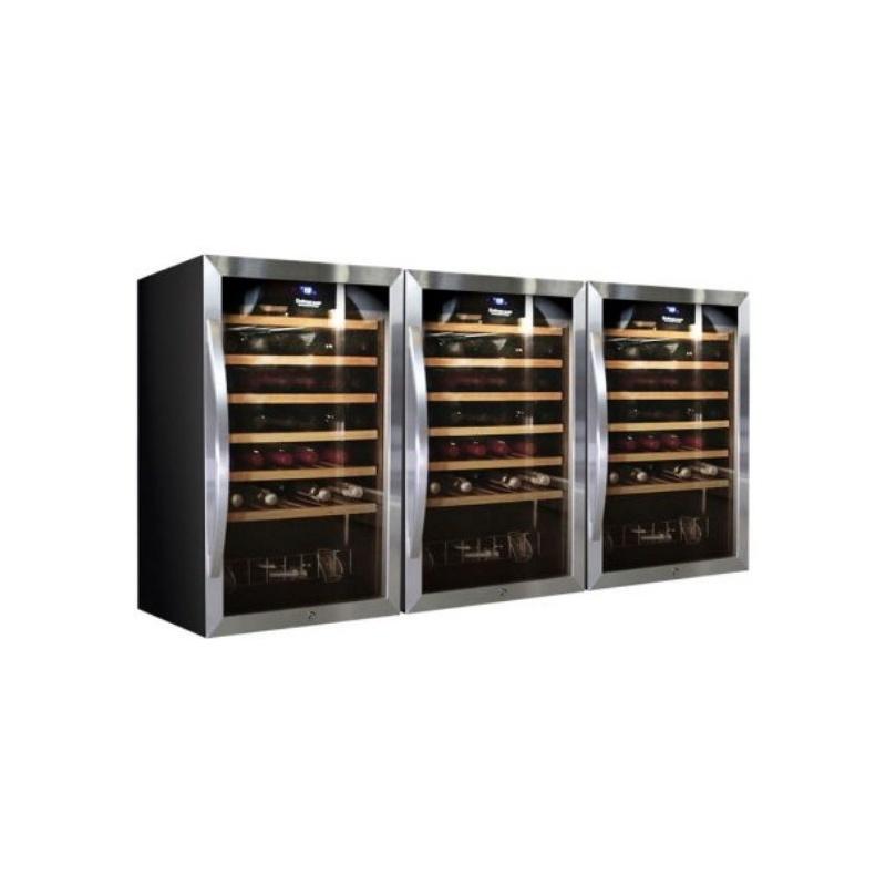 Vitrina de vinuri Datron usa dubla 144 sticle cu compresor 3 zone temperatura C° negru argintiu
