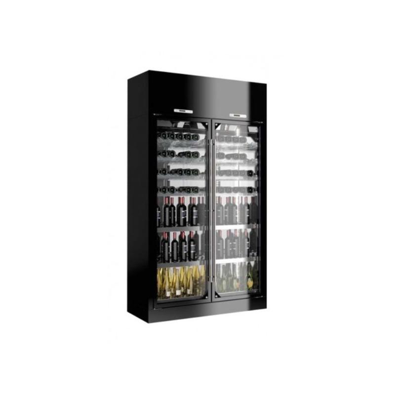Vitrina frigorifica vinuri Enofrigo Library 2P Wall H260 P60, 2 deschideri, capacitate 420 sticle, +4/+18 °C , negru