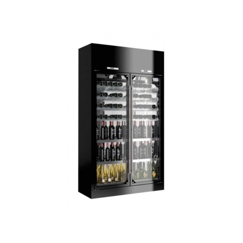 Vitrina frigorifica vinuri Enofrigo Library 2P Wall H220 P60, 2 deschideri, capacitate 336 sticle, +4/+18 °C , negru