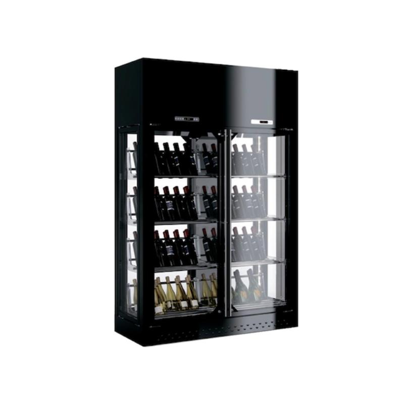 Vitrina frigorifica vinuri Enofrigo Library 2P 4V H260 P60, 2 deschideri, capacitate 420 sticle, +4/+18 °C , negru