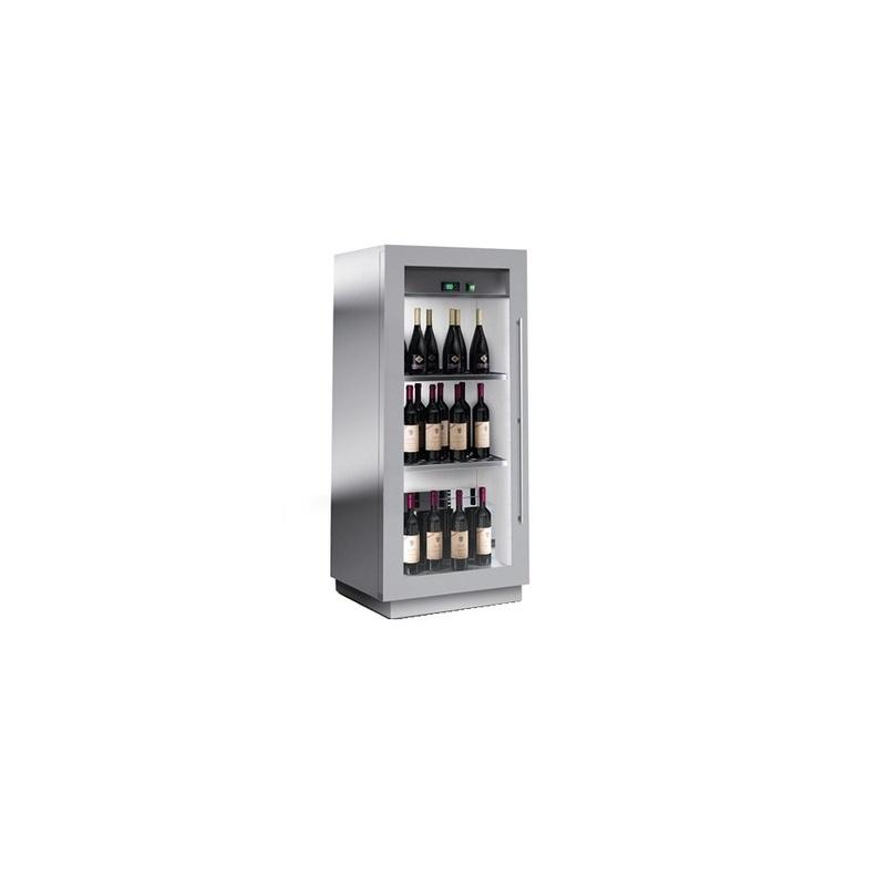 Vitrina frigorifica vinuri Enofrigo Miami Mini F 6 DR, capacitate 60 sticle, 1 zona temperatura +4/+18 °C, argintiu