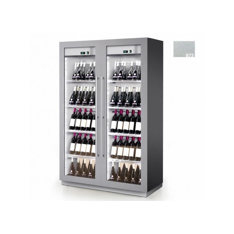 Vitrina frigorifica vinuri Enofrigo Miami B&R RF R, capacitate 216 sticle, 2 zone temperatura +4/+18 °C, argintiu