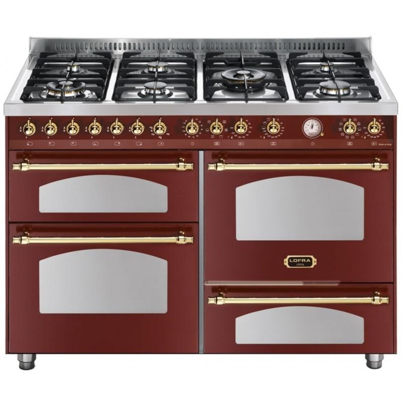 Aragaz Lofra Dolcevita120 RR126SMFET+MFT/2AEO, 120x60cm, 7 arzatoare, 3 cuptoare, grill electric, timer, rosu Burgundy