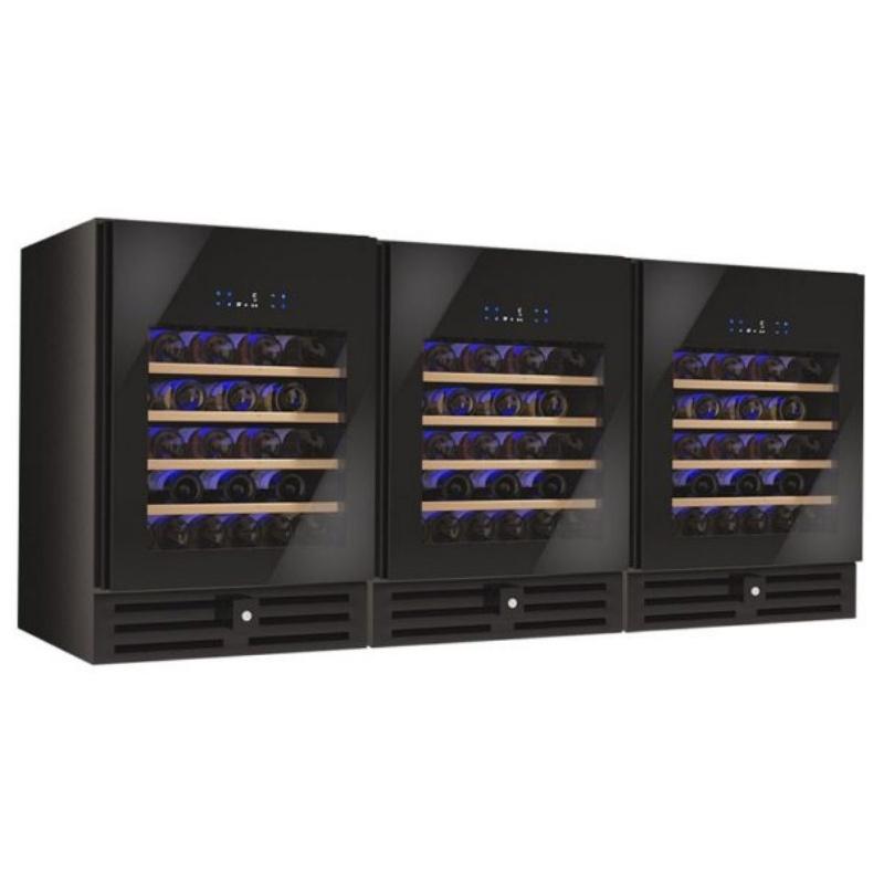 Vitrina de vinuri Datron Luxury line usa dubla 162 sticle 3 zone temperatura C° negru
