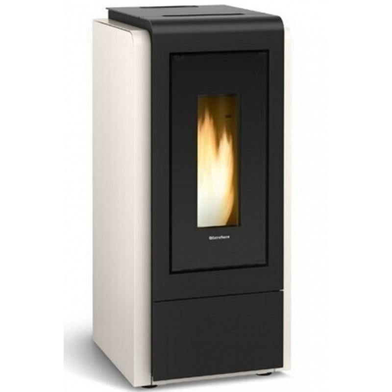 Sobă Extraflame Nordica MEGAN IDRO STEEL GRIGIO LUCE cu încălzire cu peleți ,12,0 kw gri acoperit cu oțel lăcuit