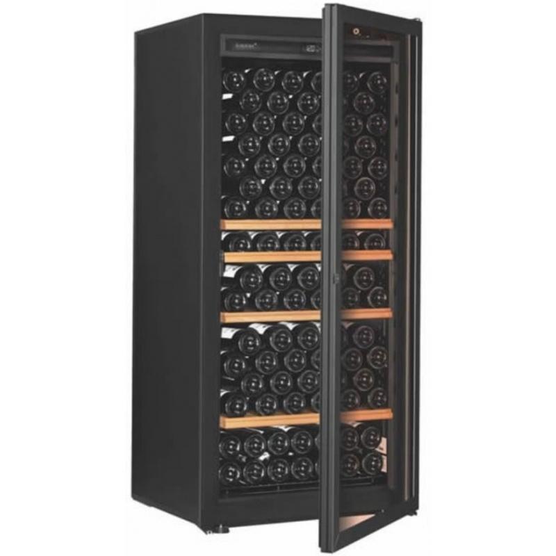 Vitrina de vinuri EuroCave Première M capacitate 141 sticle 1 zona°C usa cu geam rafturi mixte negru