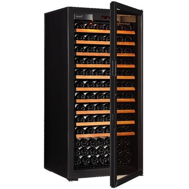 Vitrina de vinuri EuroCave S-Pure M capacitate 160-180 sticle usa cu geam rafturi glisante negru