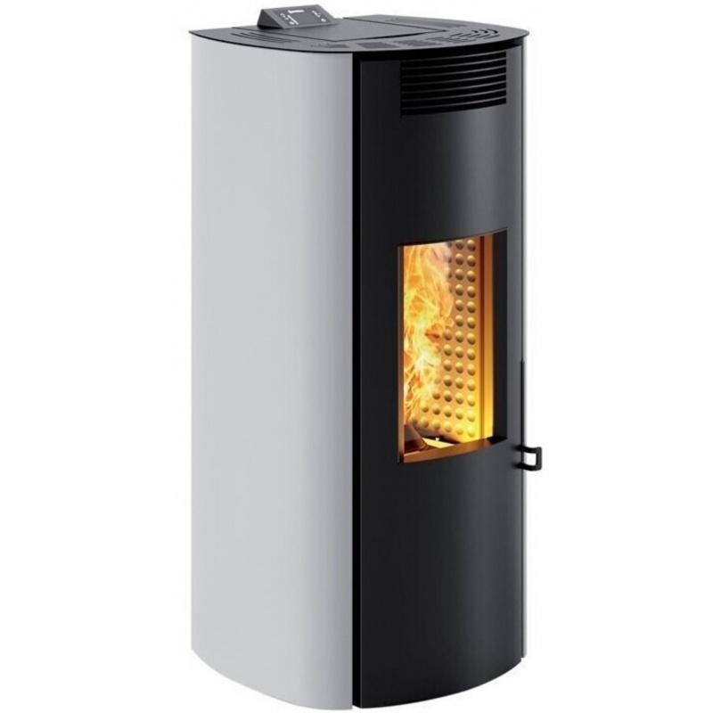 Sobă Caminetti Montegrappa LS9 Boma Evo cu peleți cu aer cald cu sistem de 6 kw a.s.s - acoperire din oțel vopsit alb metalic