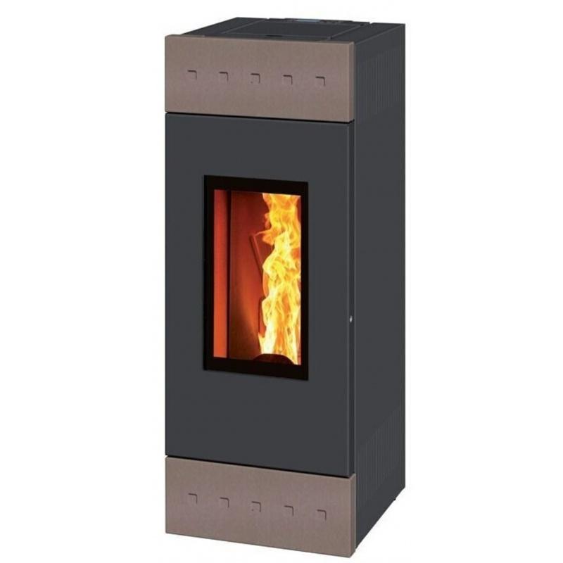 Sobă Caminetti Montegrappa NX10 Tile Evo cu peleți cu aer cald aerisit, conductă de 10 kw - acoperire majolica gri deschis