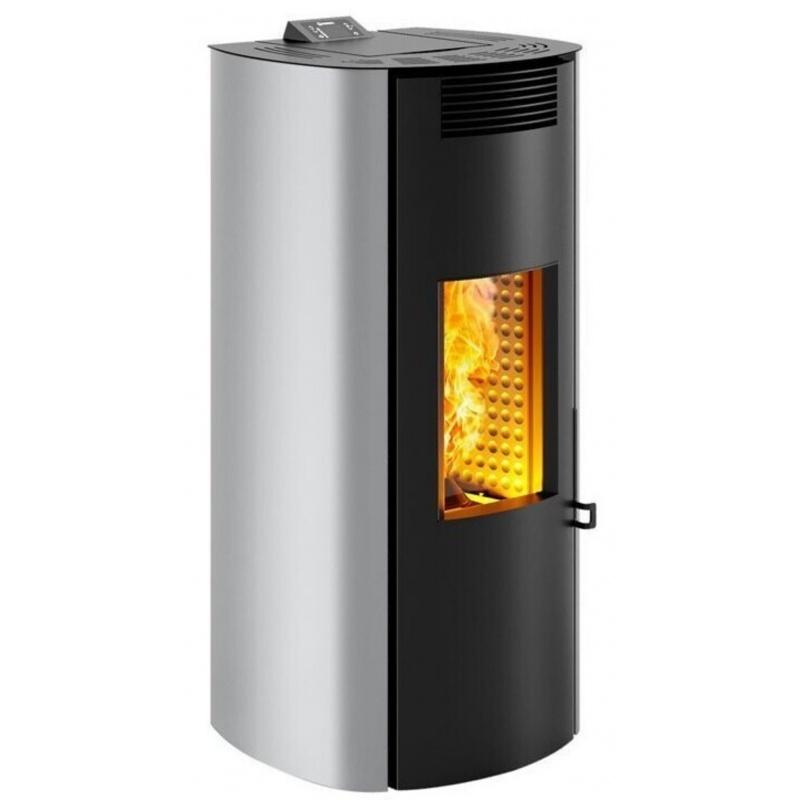 Sobă Caminetti Montegrappa NP7 Boma Evo cu pelete cu aer cald de 7 kw - placare din oțel gri cu ușă rotunjită