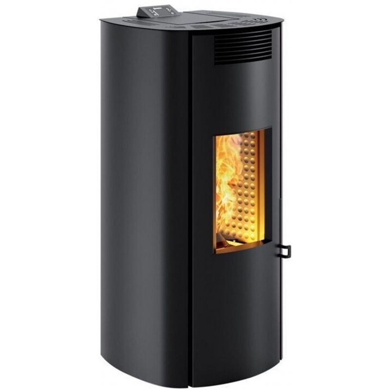 Sobă Caminetti Montegrappa NP7 Boma Evo cu pelete cu aer cald de 7 kw - placare din oțel negru cu ușă rotunjită