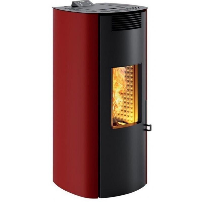 Sobă Caminetti Montegrappa NP10 Boma Evo cu pelete cu aer cald ventilat de 10 kw - placaj din oțel rosu cu ușă rotunjită