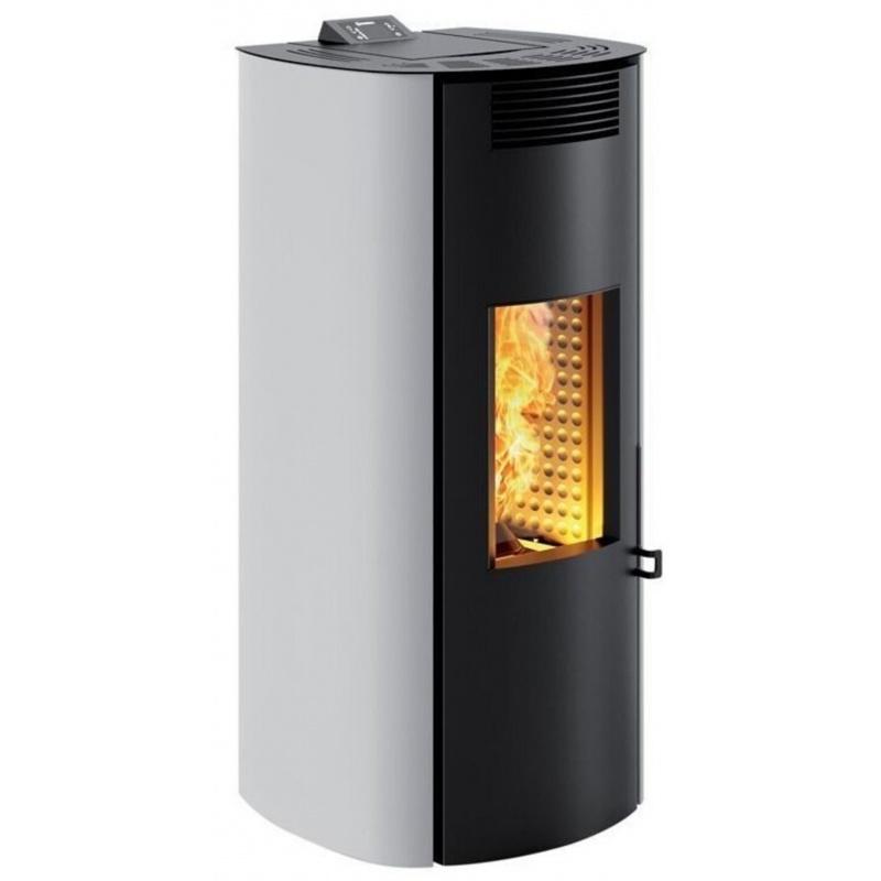 Sobă Caminetti Montegrappa NPS7 EVO Boma Evo cu peleți cu aer cald, cu ventilație smart 7 kw - placare din oțel alb
