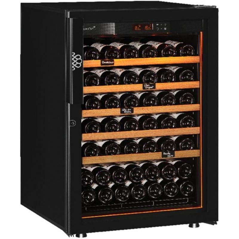 Vitrina de vinuri EuroCave S-Revelation S capacitate 74 sticle rafturi finisaj lemn usa cu sticla neagra