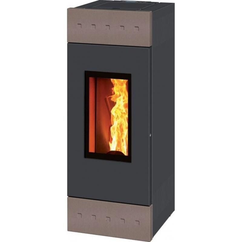 Sobă pe lemne Caminetti Montegrappa LHW10 Tile Xw pentru încălzirea apei de 10 kw-gri deschis