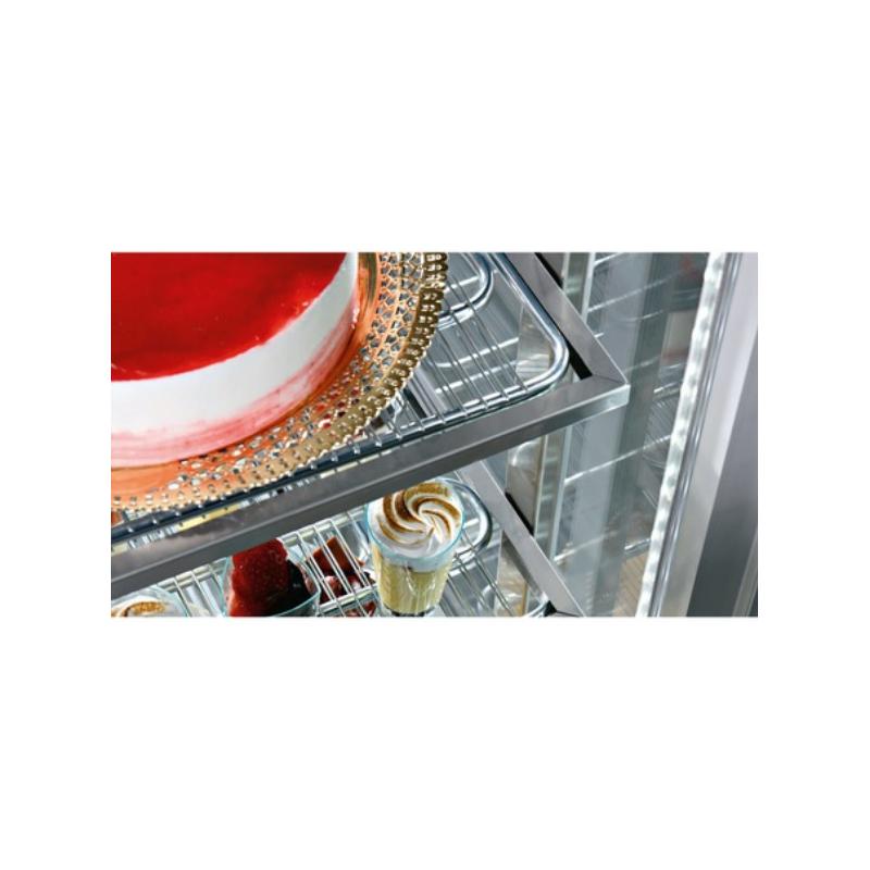 Vitrina frigorifica pentru cofetarie Enofrigo Shiny Frozen RF, capacitate 490l, 1 zona temperatura -25/-15°C, argintiu