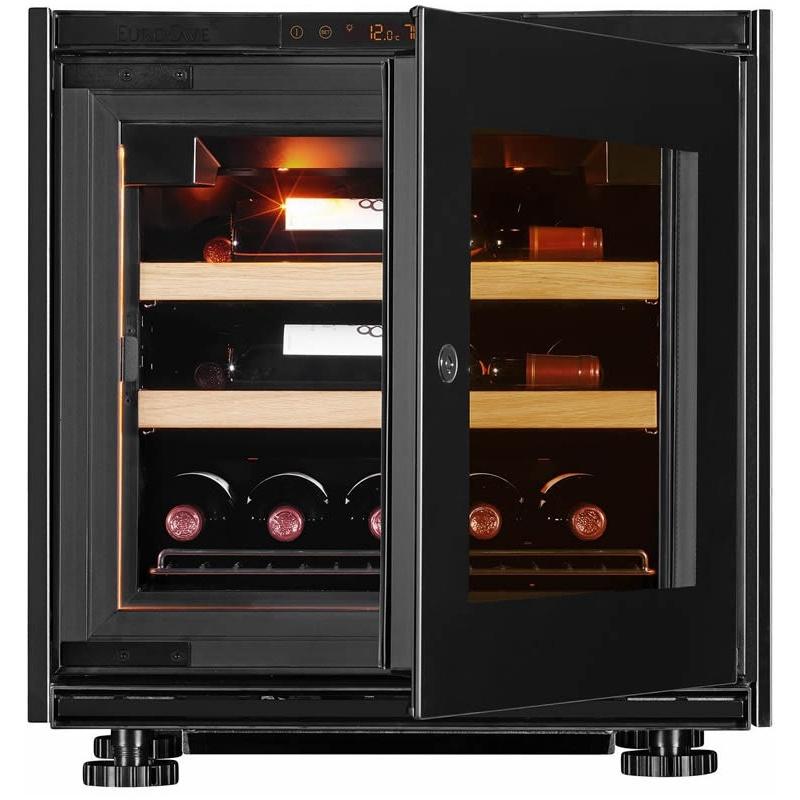 Vitrina de vinuri EuroCave V-Inspiration XS capacitate 17 sticle rafturi finisaj lemn usa sticla balama dreapta neagra