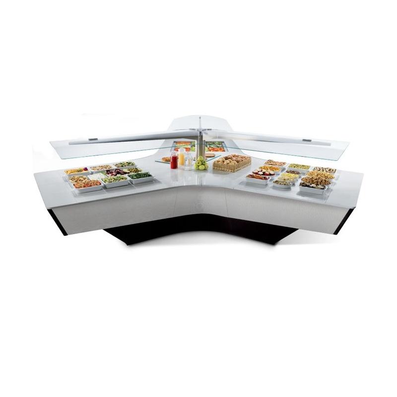 Bufet frigorific insula Enofrigo Widevision 3 cu 3 brate, blat quartz alb
