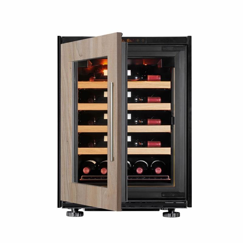Vitrina de vinuri EuroCave S-Inspiration S capacitate 17 sticle rafturi glisante finisaj lemn usa sticla lemn